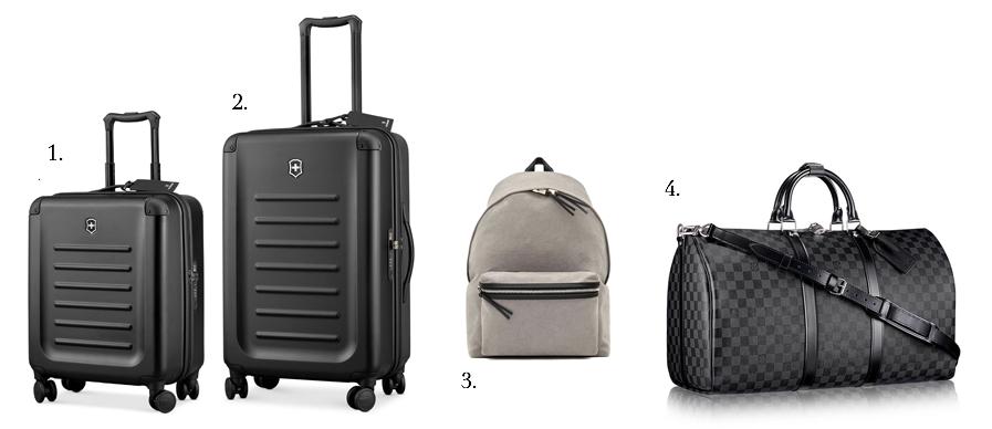 1 & 2. Victorinox Luggage Spectra. Images credits: amazon.com 3. Saint Laurent Hunter backpack. Image credit: ysl.com 4. Louis Vuitton keepall damier graphite. Image credit: fr.louisvuitton.com